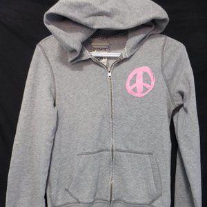 PINK, small, grey zip front sweatshirt hoodie Hope